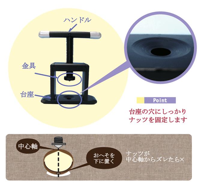 2.殻付マカダミアナッツをMACADAMIAクラッカー(スチール)を使って上手に割る方法
