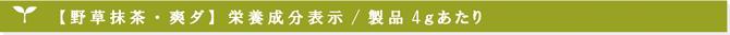 まるごと日本野草 野草抹茶爽ダ 栄養成分表